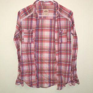 💕 Hollister plaid flannel button down
